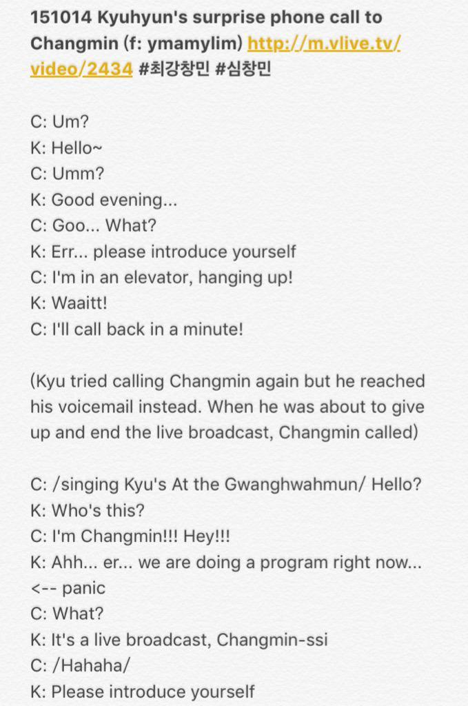 VID/Trans] 151014 Kyuhyun Phone Calls Changmin During his