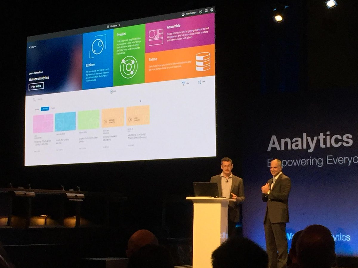 Bob hands the stage to @jmcolthart to showcase #watsonanalytics to the full house #analyticsforall http://t.co/rHmQv9Y1dZ
