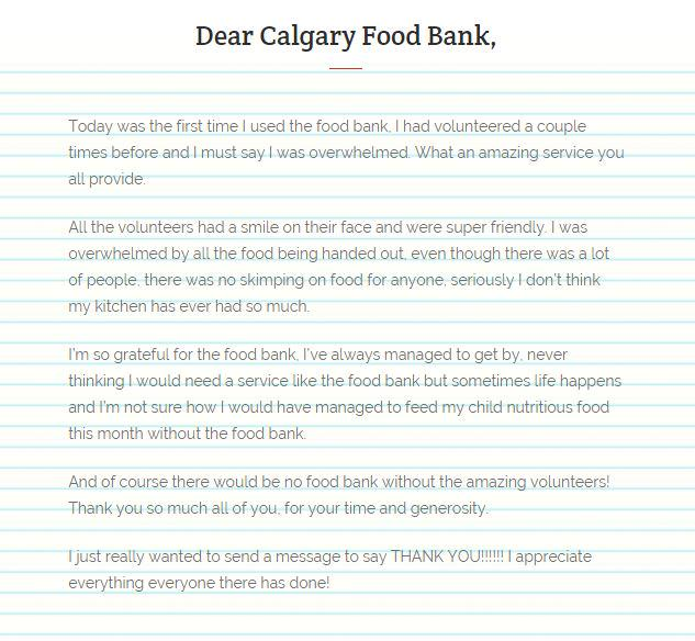 Calgary food bank on twitter this food bank clients thank you never miss a moment expocarfo Images