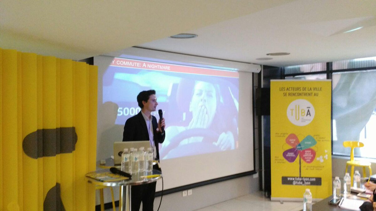 Entering the stage is @Karos_fr, to make carpooling effortless for daily trips. #SCAH_LYON. http://t.co/wbw6JaPJTY