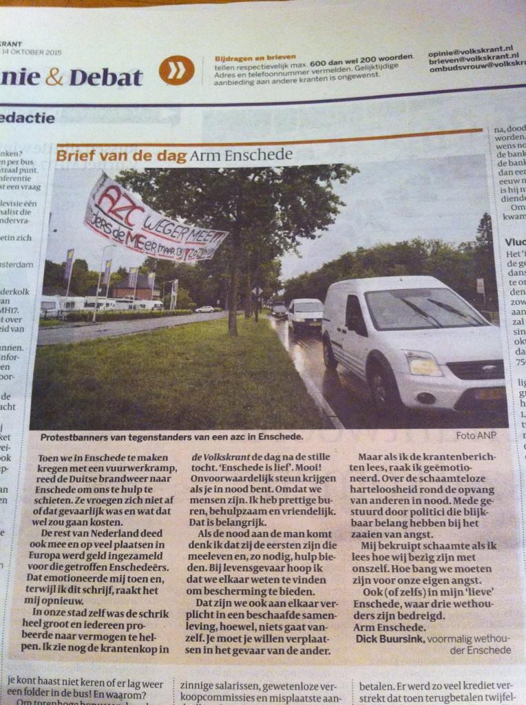 Oud-wethouder Dick Buursink schaamt zich over zijn stad. 'Arm #Enschede ' . Brief van de dag in #Volkskrant http://t.co/xadkScLCVv
