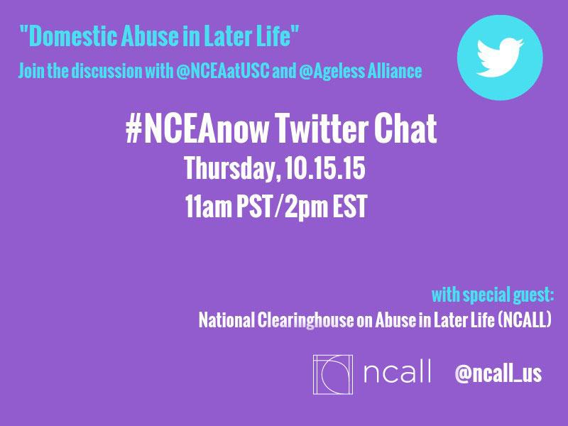 """Thumbnail for 10/15/15 #NCEAnow Chat: """"Domestic Abuse in Later Life"""""""