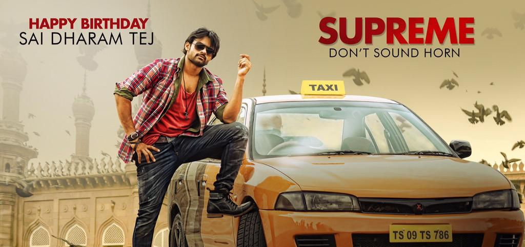 Supreme First Look, Sai Dharam Tej, looks like he plays a taxi driver in this movie. The Car has Telangana state registration.