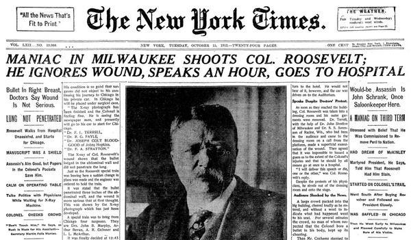 Image result for theodore roosevelt shot in 1912