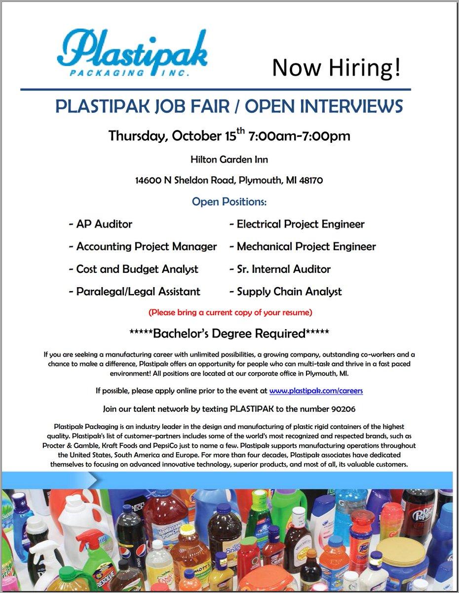 Plastipak Jobs on Twitter jobfair Join us 1015 Hilton Garden