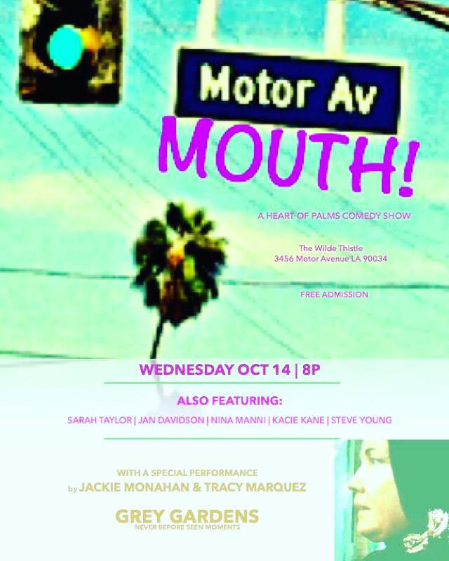 #Comedy at @WildeThistle tonight for Motor Mouth w/ @jackiemonahan @steveyoungrocks @tracy_marq  @ninamanni & more! http://t.co/PQmBNbSfpK