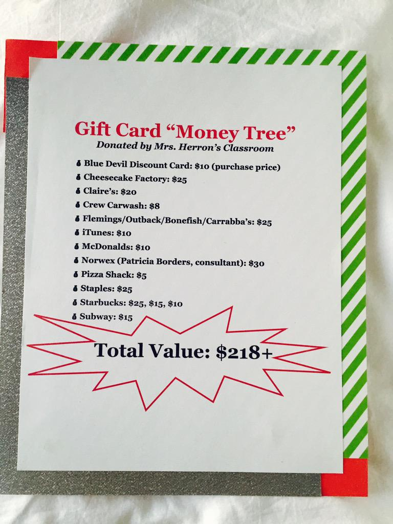 Amber rodibaugh on twitter gift card money tree donated by mrs amber rodibaugh on twitter gift card money tree donated by mrs herrons class for the teso fall carnival silent auction negle
