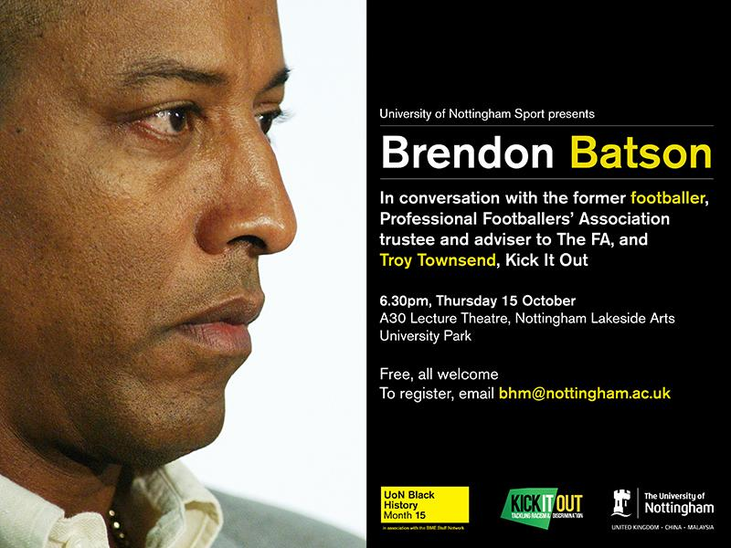 From 6.30pm, we're live-tweeting our #NottsBHM event w/ Brendon Batson @UoNSport & @kickitout http://t.co/1X88QsnvoF http://t.co/buoXdd8n2C