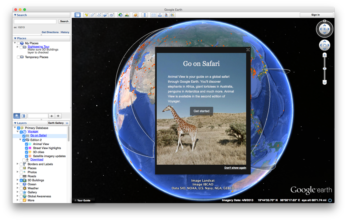 Go on a global safari with Animal View–available now in the Voyager layer on Google Earth for desktop.