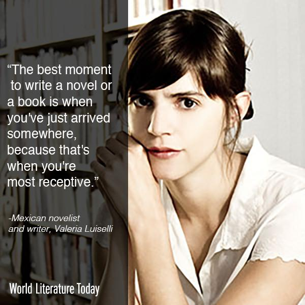 Visiting @WorldLitToday & @UofOklahoma for the 2015 #NeustadtFestival next week, Mexican novelist Valeria Luiselli http://t.co/S0cO45AOY2