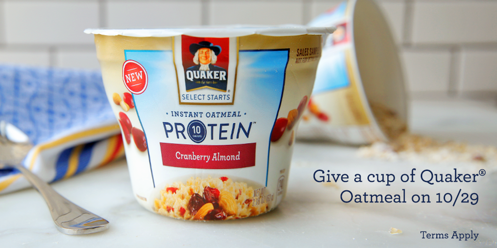 On 10/29, we're giving away Quaker® Oatmeal for #NationalOatmealDay! Stay tuned for more details. http://t.co/RpoezflKII