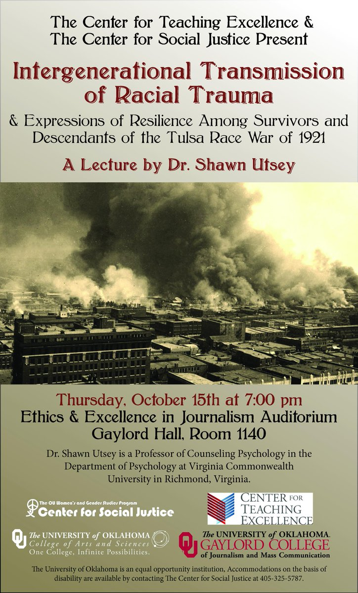 @ouwritingcenter We hope to see you at Gaylord Auditorium tonight for this lecture on the Tulsa Race War! http://t.co/yZDGvk5bh3