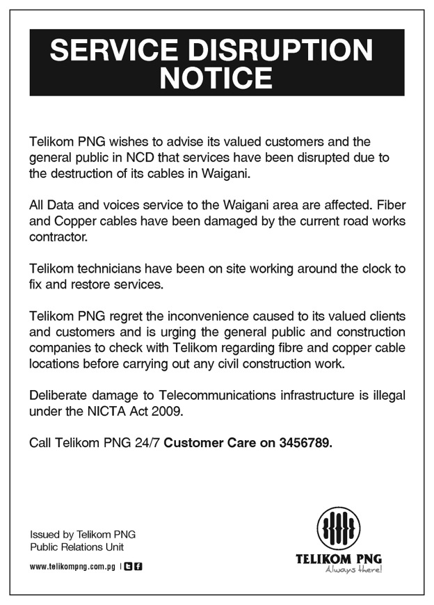 telikom png on twitter telikom service disruption notice affected area waigani port. Black Bedroom Furniture Sets. Home Design Ideas