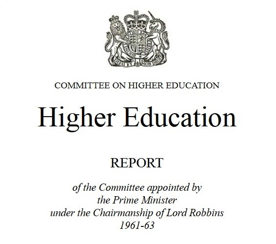 Front Cover of the Robbins Report, Committee on Higher Education 1961