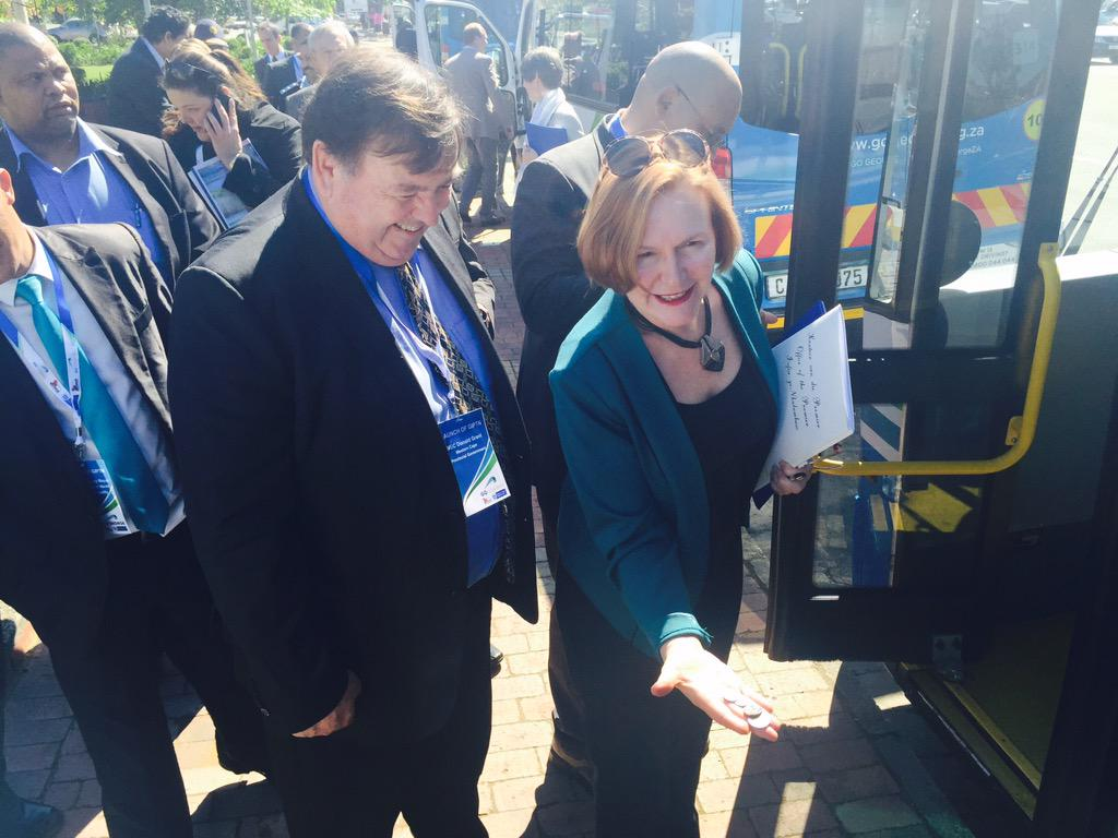 Min Grant and Premier @helenzille at the #GoGeorgeLaunch boarding the new buses @WCGovTPW #PublicTransport