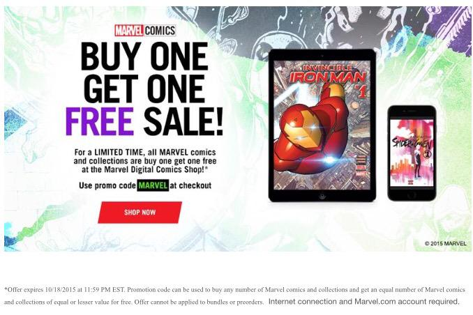 Did you know that @Marvel is having a #BOGO sale on digital #comicbooks ??? ❤️❤️❤️ http://t.co/s1xyLu0pox