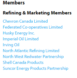 Deep into #elxn42, #NDP's Brad Lavigne was registered to lobby for Canadian Fuels Association. Their members: http://t.co/H01yTMcGGW