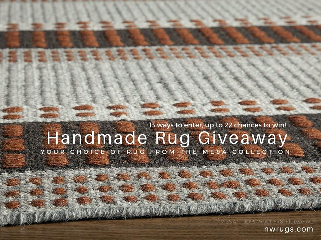 Only 3 Days Left for @nwrugs 5'x8' #Handmade 100% Wool #Rug Giveaway http://t.co/X1iMG8G98W #GiveawayFriday #win http://t.co/EpDDqnwja7