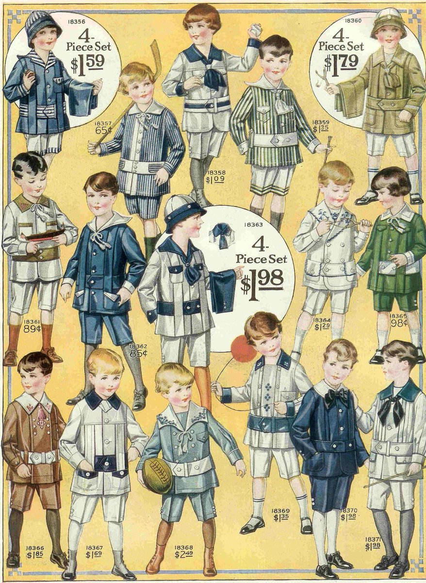 1915年、北米、男児服の通信販売カタログ。