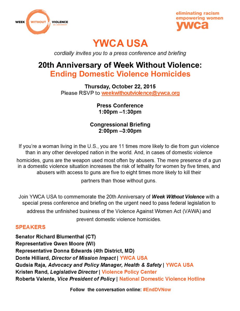 Join #YWCA w/ @ndvh & @VPCinfo for a press event on ending #domesticviolence homicides in the U.S. #fem2 #EndDVNow http://t.co/nh8THsKIEV