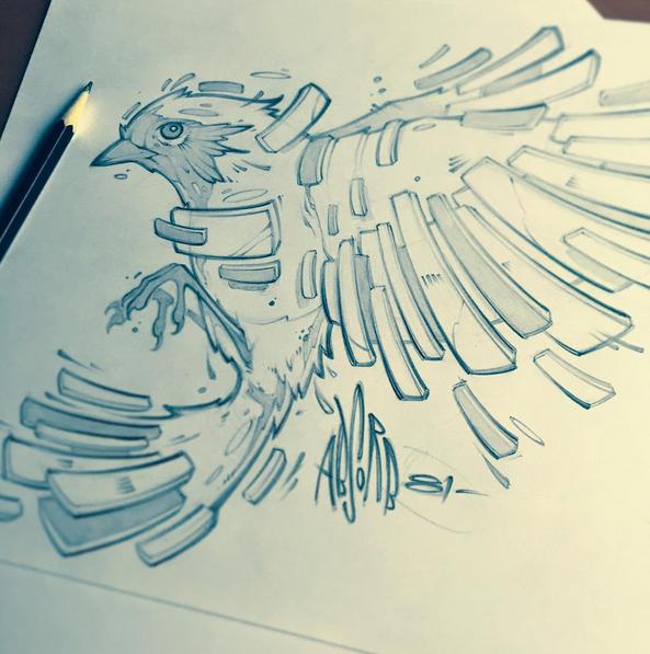 Absorb81 On Twitter Some Recent Sketches Bird Flight Graffiti