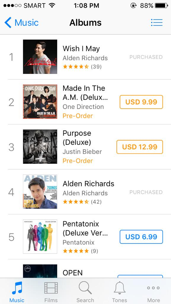 Top album ang Wish I @mainedcm ni @aldenrichards02 sa iTunes Philippines. 'Yung una niya, #4. #ALDUBTheBigSurprise http://t.co/5XYlQFY1b5