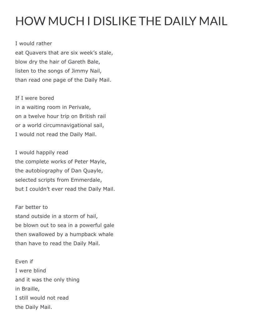 Love this poem a guy wrote after being offered a free copy of The Daily Mail on a flight http://t.co/Pgk98Z68zd