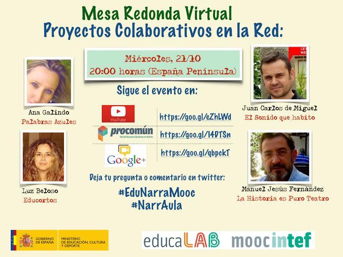 El miércoles 21 octubre Mesa Redonda Virtual Hablamos de narración digital.  #EduNarraMooc #NarrAula Os esperamos http://t.co/X3k24C0iYV