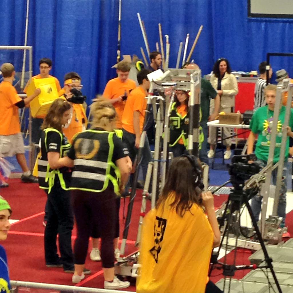 SWAG girls are setting the robot up for the team's fourth match! #omgrobots http://t.co/DdCtdJj81G