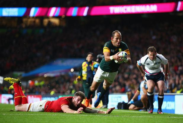 The MOMENT that send #Springboks into #RWC2015 semifinals. Captain Courageous Fourie du Preez's try. http://t.co/1vJJsirDJo