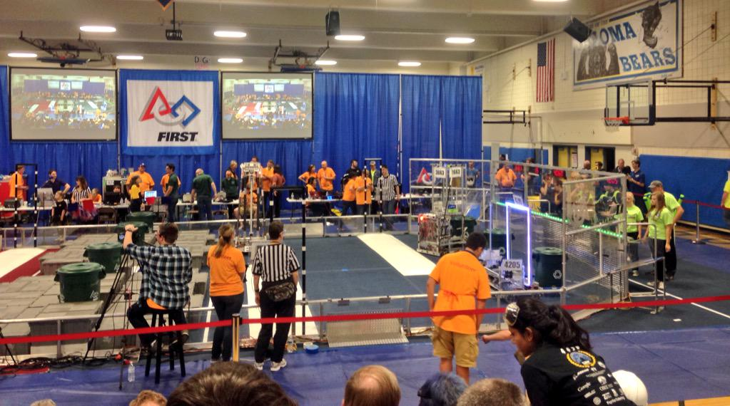 With 46 alliance points, Team SWAG won its first match! #omgrobots http://t.co/0JJCwRYuXV