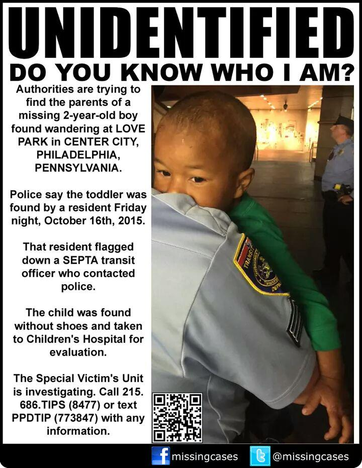If you recognize this child, please help by contacting @PhiladelphiaPD and identify them! So sad. http://t.co/n3YgFhWLLk