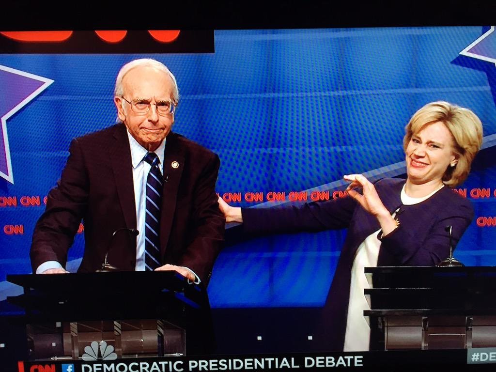 Hope this is a tease for Curb Your Enthusiasm season 9 when Larry David accidentally joins the pres. race #SNL http://t.co/s3Yj3bT1Tx