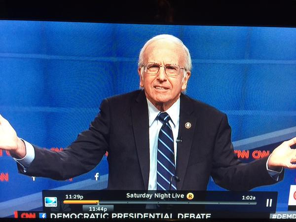 Larry David doing a better Bernie Sanders than the real Bernie Sanders on #SNL. http://t.co/gUixYldfNF