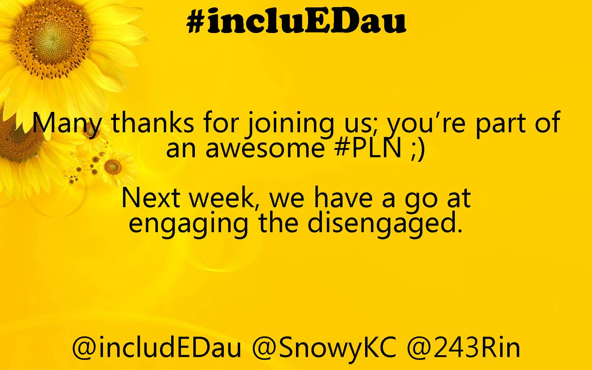 Thanks for participating tonight, #includEDau PLN! Fantastic discussions. Head on over to #aussieED now :) http://t.co/Po8GrbG89T