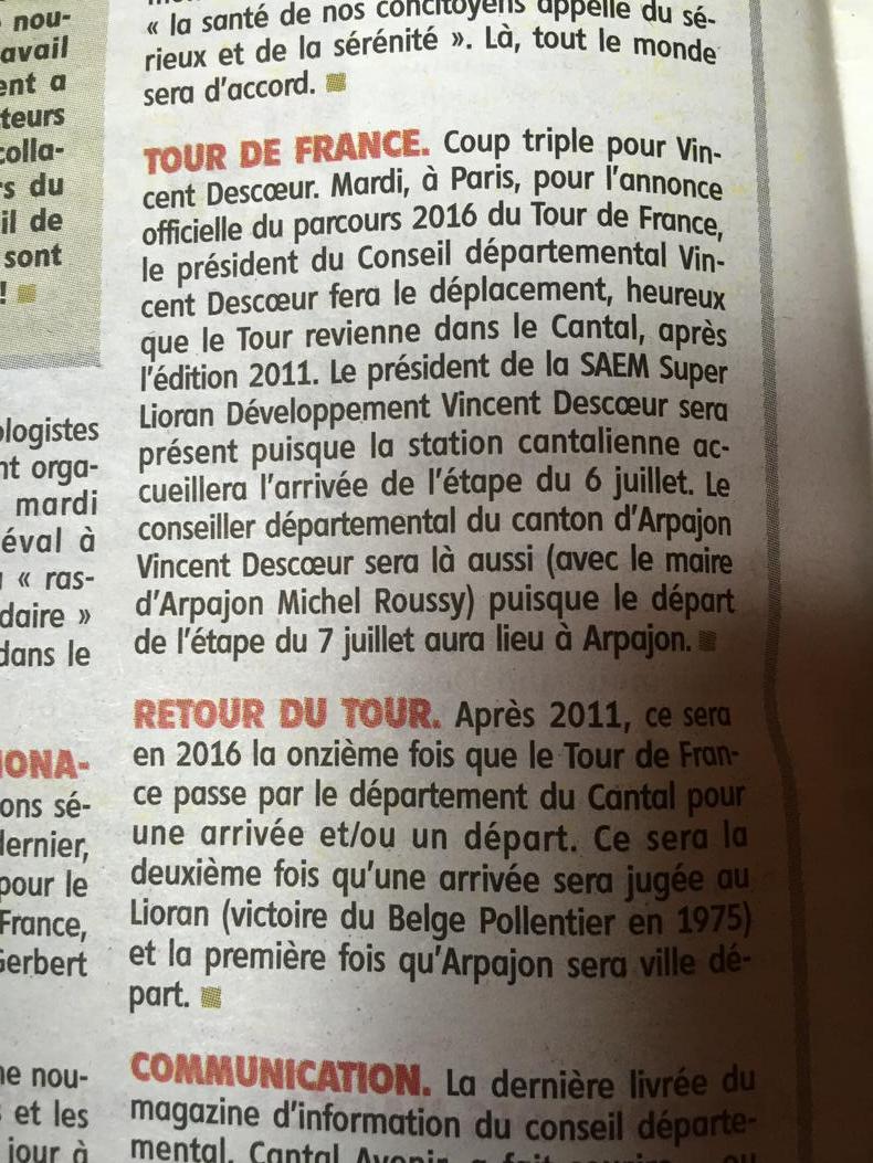 Le Tour de France revient dans le Cantal en 2016 - Page 2 CRmDVH9WsAEej3W