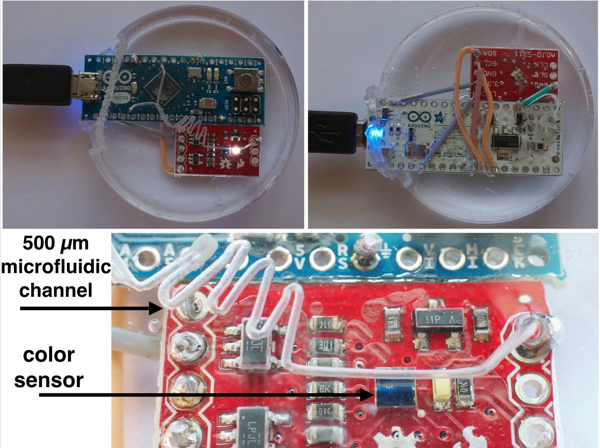 Vittorio Saggiomo On Twitter Arduino And Sparkfun Color Sensor Circuit Embedded In 500um Microfluidic Device Makerfairerome Http Tco 9zbkk9adpa