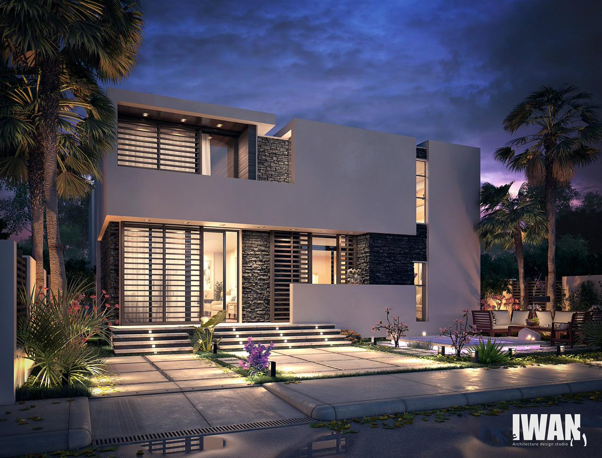 Iwan design studio on twitter modern villa qatar for Facade villa moderne