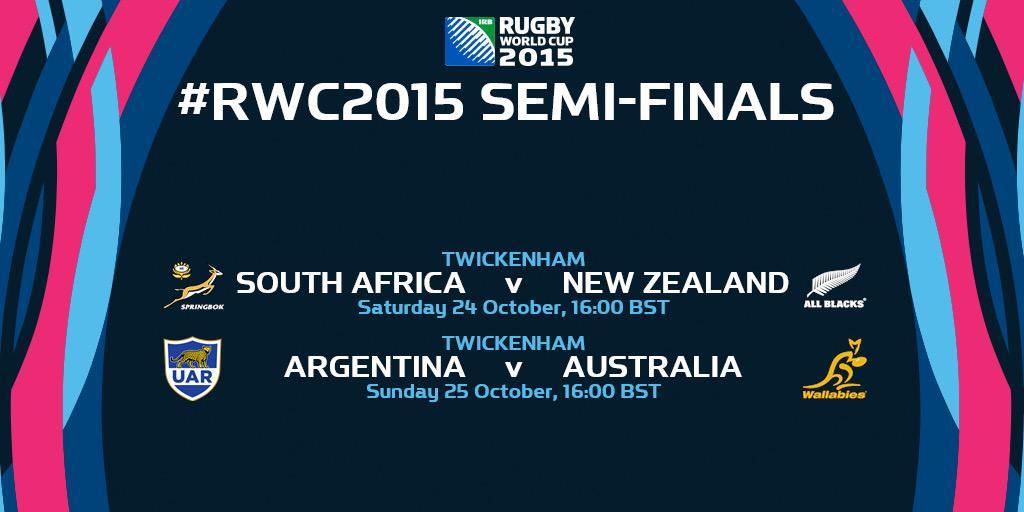 Semi-finales #RWC2015: Sábado 24/10 - SUDAFRICA vs ALL BLACKS Domingo 25/10 - LOS PUMAS vs AUSTRALIA