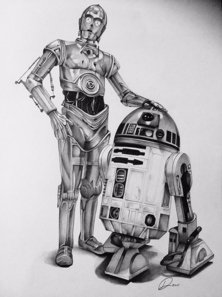 R2d2 And C3po Drawing Star Wars R2d2 And C3p...