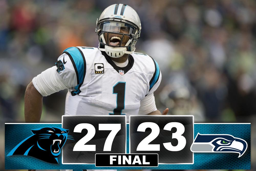 #Panthers come from behind to beat the #Seahawks 27-23 #PantherNation http://t.co/Kkzb5W06Rs