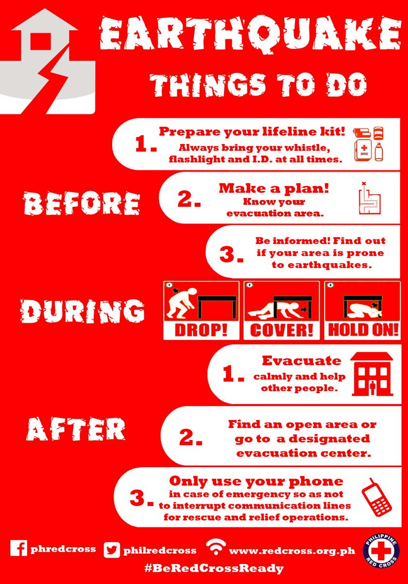 Here's what to do in case of an #EarthquakePH. Keep safe and #BeRedCrossReady! http://t.co/2TJ7vGAkE4