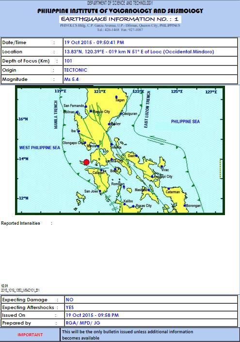 #Earthquake Info No. 1: 19 Oct 2015 09:50 PM Magnitude = 5.4 Depth = 101km Location = Looc (Occidental Mindoro) http://t.co/ekBG8TEq2v