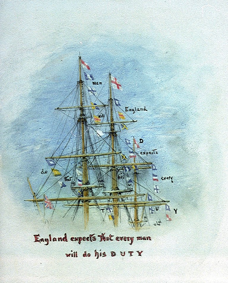 Nelson hoists famous signal: England expects that every man will do his duty #TrafalgarDay https://t.co/1KmP9MetIN https://t.co/857X6wlFJ5