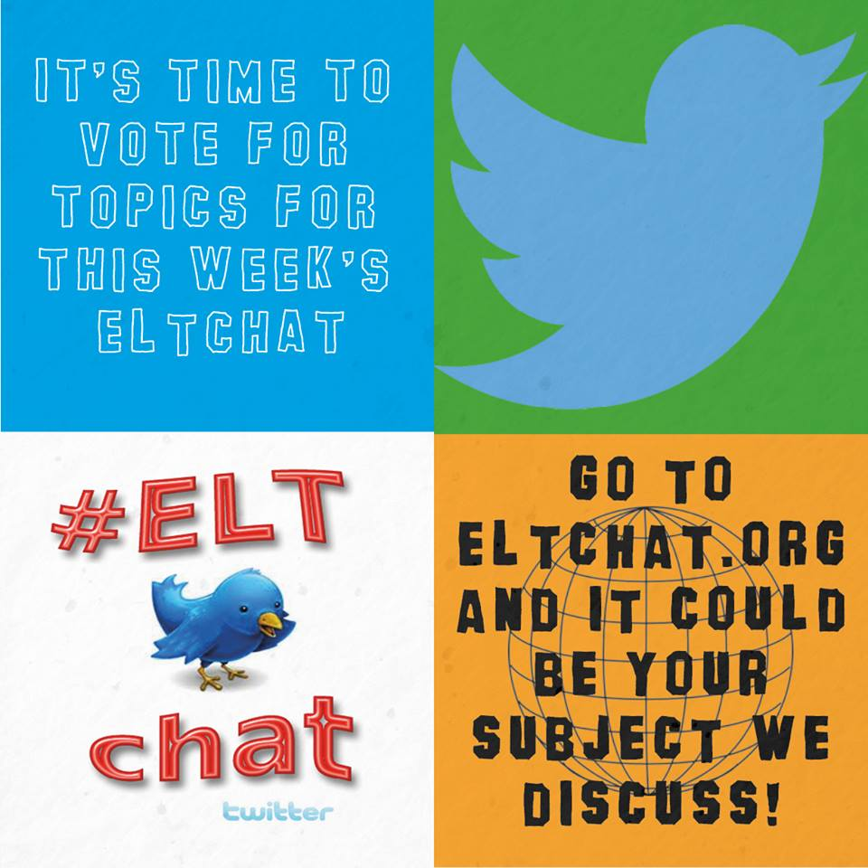 http://t.co/Nj69OPXEdE Four topics to choose from - Are you ready to vote? #ELTchat http://t.co/5EwA8HJyr4