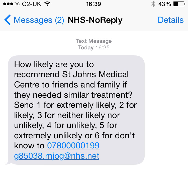 Example of sms marketing survey by NHS