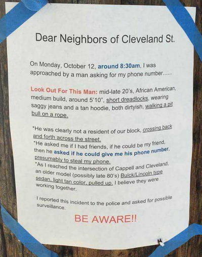 Black Man Asks Woman For Phone Number In Oakland, She Posts Flyer About It And Calls Cops https://t.co/StxDo3ziqd https://t.co/o7FwWdoQIn