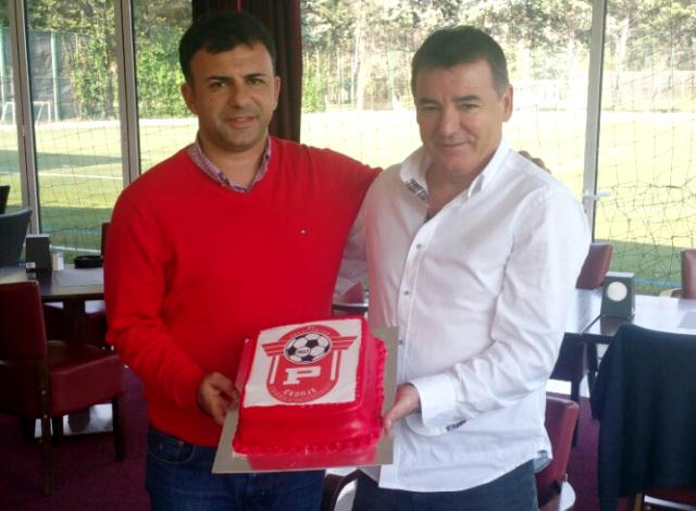 Angelovski and Rabotnichki president Dragan Popovski; photo: Rabotnichki
