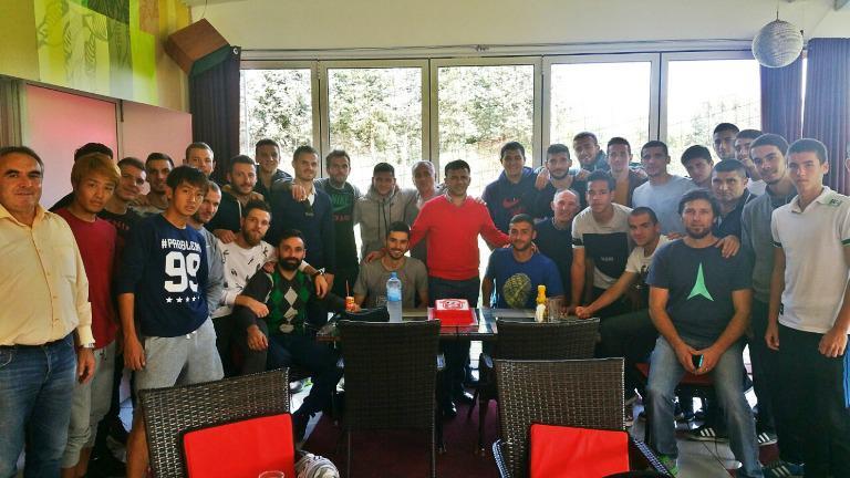 Angelovski was joined by his players; photo: Rabotnichki