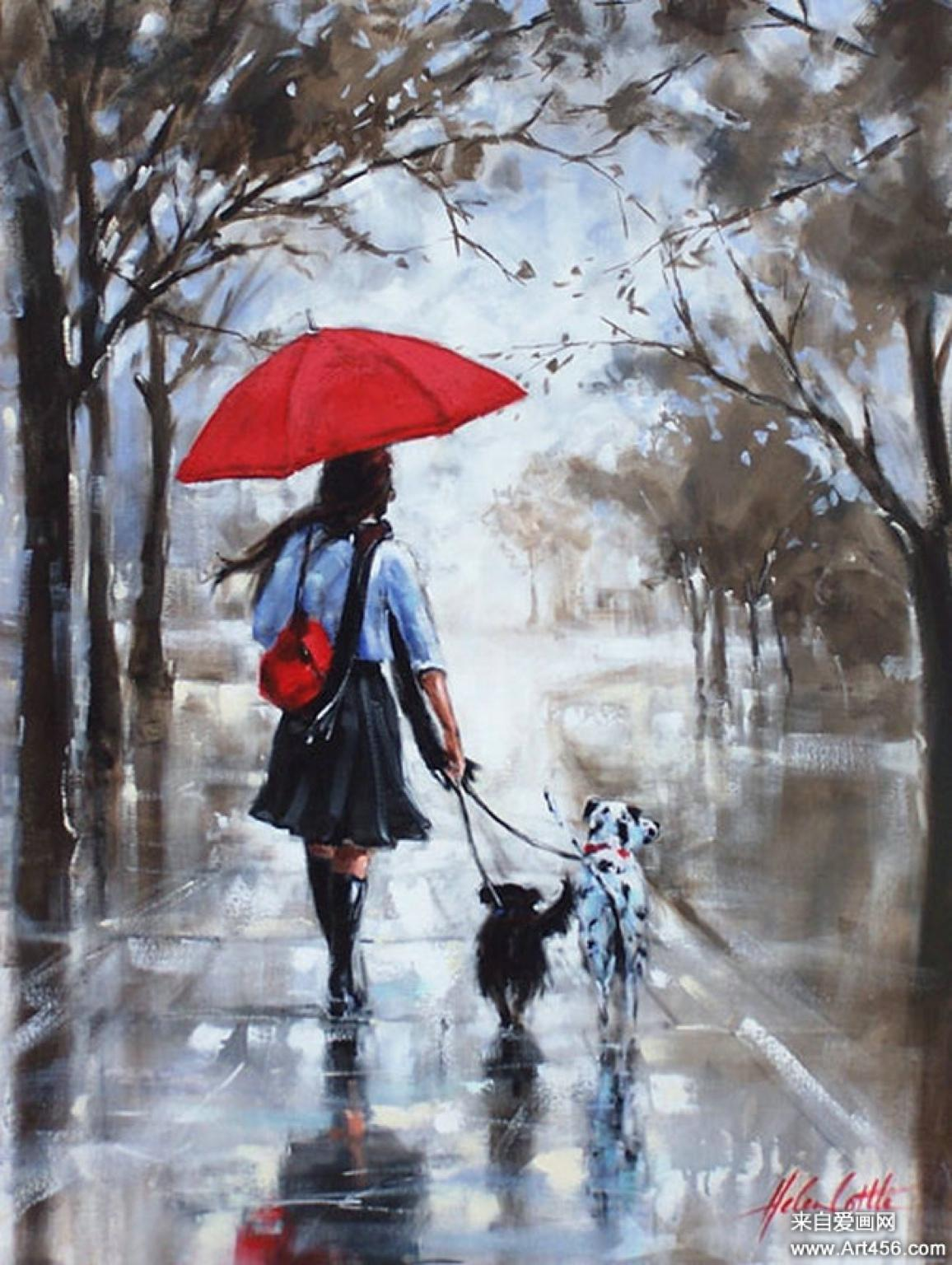 Oraliasoto on twitter red umbrella and dogs by helen for Painting red umbrella